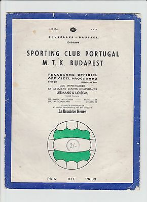 Orig.PRG  Cup Winners Cup  1963/64  FINAL  SPORTING LISSABON - MTK BUDAPEST  !!