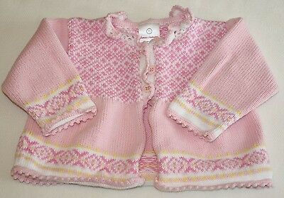 Hanna Andersson Baby Girl's Cotton Cardigan Sweater Size 70 cm Fits 5 - 9 months