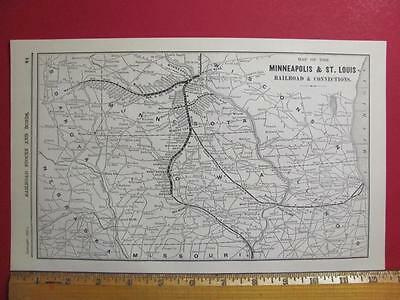 122 Year Old Minneapolis & St. Louis Railroad System Map Printed In 1895