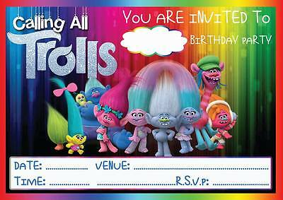 Trolls Birthday Party Invitations Invites  With Or Without Envelopes Poppy