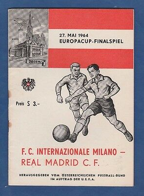 Orig.PRG  European Cup  1963/64  FINAL  INTER MAILAND - REAL MADRID  !!  RARITY