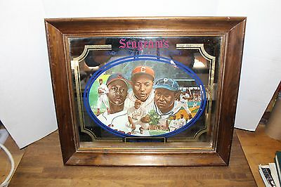 "Vtg 70s Seagrams 7 Advertisement Mirror,Baseball Legends""Paige Gibson Leonard"""