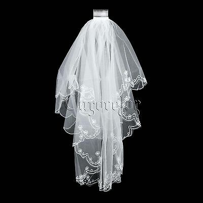 White Short Embroidery Lace Edge Bead Veil With Comb Bridal Veil Wedding Veil #1