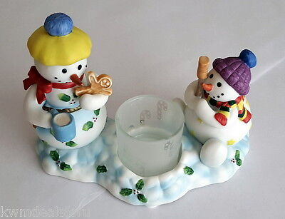 PartyLite Retired Snowbell Kids Votive Tealight Candle Holder Glass Cup P7869