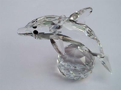 DOLPHIN on a BALL CRYSTAL CUT GLASS FISH ORNAMENT