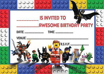 Lego Movie Birthday Party Invitations Invites  With Or Without Envelopes Batman