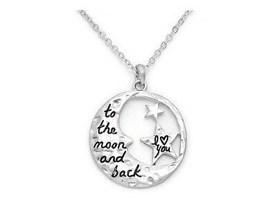 """I Heart You To the Moon and Back"" Crescent & Star Pendant Necklace ~ NWT!"