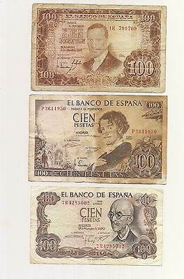 SPAIN...Lot of 3 Banknotes...3 x 100 Pesetas  Good CONDITION