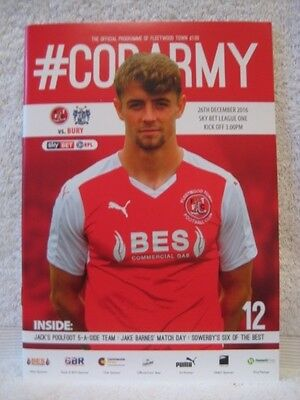 FLEETWOOD v BURY PROGRAMME 26/12/16  *MINT