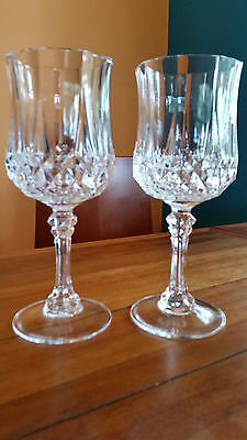 Two Stunning LongchampsCristal D'Arques of France Large Red Wine Crystal Glasses