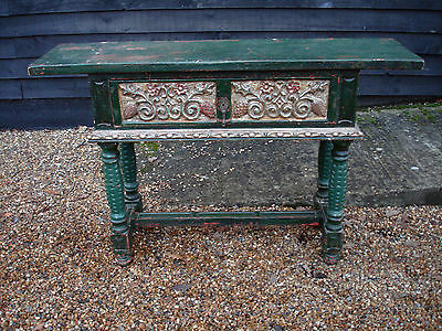 UNUSUAL DECORATIVE 19th CENTURY CONTINENTAL PINE PAINTED SIDE TABLE CONSOLE