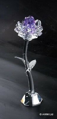 Star Crystal Glass Stem Purple Rose - Height 140mm - Beautiful Love Flower Gift