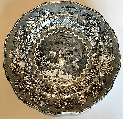 "Authentic Antique Black Millenium Plate Ralph Stevenson, 9"" dia. 1830s"