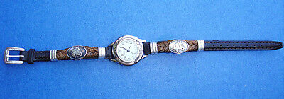 Western Jewelry Horsehair/Leather Wrist Watch W/Sterling Silver Bands/Cap/Buckle