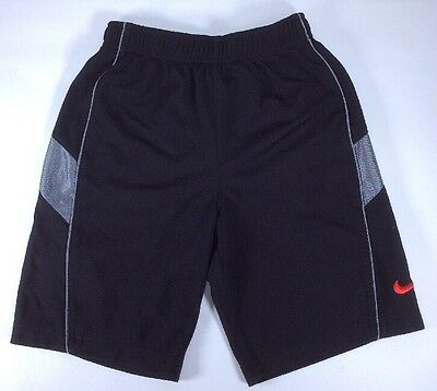 NIKE Shorts Loose Fit Youth 6-7 Toddler Large Black Gray Red Swoosh Polyester