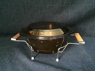 Vintage 1.5 Litre Casserole Dish With Lid & Serving Stand Amber Glass France