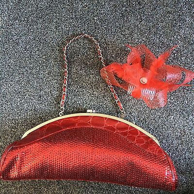 Red Fascinator And Sequin Evening Bag Ex Shop Display