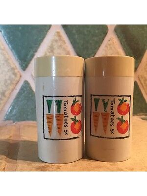 Vintage Retro Salt And Pepper Shakers Vegetable Motif