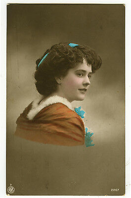 1910's Antique children child PRETTY YOUNG GIRL tinted photo postcard
