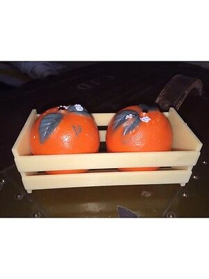 Vintage Retro Salt And Pepper Shakers Oranges In Crate Plastic