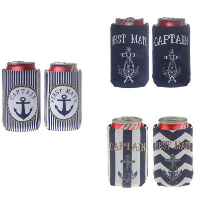 First Mate Captain Stubby Beer Bottle Tin Can Cooler Sleeve Holder Party Favor