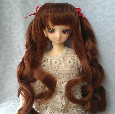 """8-9"""" Long Brown Curly Synthetic Wig for 1/3 SD13/10 Doll BJD Girl Dollfie"""