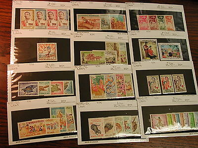 Laos Group of Mint Never Hinged Stamps in Complete Sets