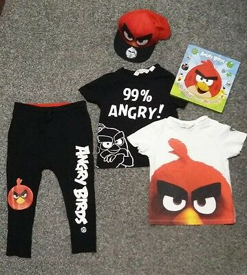Angry Birds BUNDLE (H&M) Joggers, Tshirts & Cap 2-4yrs PLUS Finger Puppet Book
