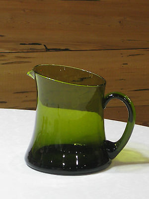 Vintage Green Blown Glass Pitcher with Applied Handle