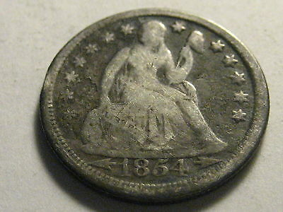 1854-P Arrows Seated Liberty Dime Good Scratches