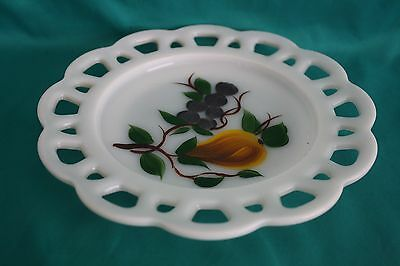"Gay Fad Open Lace Edge 8 1/4"" Milk Glass Plate with Hand Painted Pear & Grapes"
