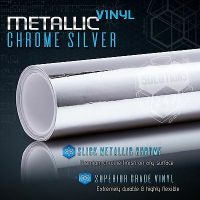 Silver Chrome Mirror Vinyl Wrap Film Sticker Decal Bubble Free Air Release