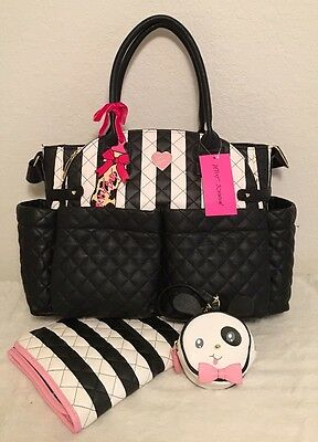Betsey Johnson Downtown Diamond Quilted Baby Diaper Bag Weekender Tote NWT