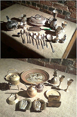 Collection of Brass & Silver Plated Job Lot