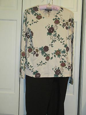 Thyme Maternity Floral Long Sleeve Top & Brown Pants L GUC