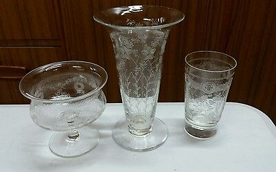 Vintage hand & machine etched glasses: vase, sweet bowl, tonic glass