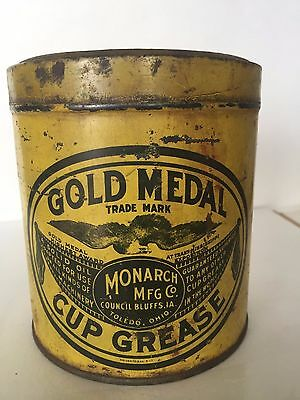 Rare Gold Medal Vintage Antique Metal Oil Cup Grease Can Ohio