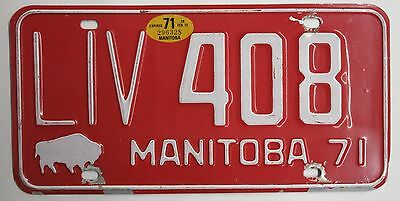 1971 Manitoba License Plate LIV 408