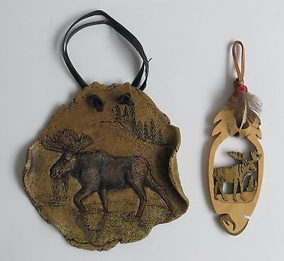 Moose Art Ornaments Wood Carved Clay Nature Fragments Jane Beasley set of 2