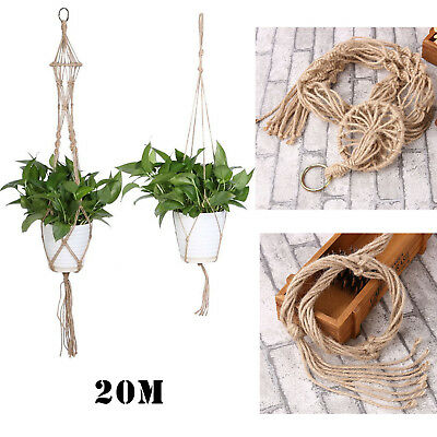 Home Garden Macrame Plant Hanger Flowerpot Holder Gardenpot Hanging Lifting Rope