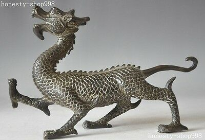 """8""""Old Chinese Fengshui Bronze Success zodiac Animal Dragon god Beast Statue"""
