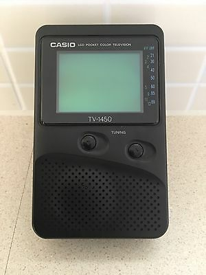 Vintage Casio LCD Pocket Colour Television, Portable, TV-1450, With Case