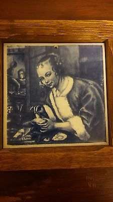 Artwork Print on Ceramic Tile, Wooden Framed, Young Woman Dining at Table