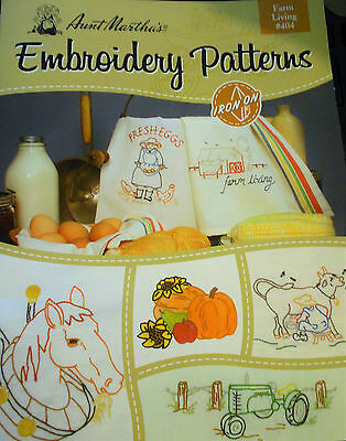 """Large Aunt Martha's  Embroidery  Book # 404 """" Farm Living """""""