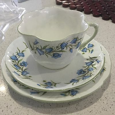 Crown Staffordshire Fine Bone China Trio Bluebell Pattern Made In England