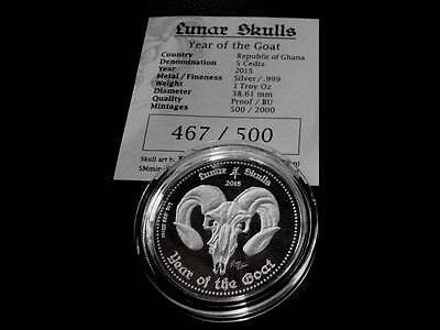 2015 LUNAR SKULLS YEAR OF GOAT PROOF GHANA 1 oz .999 SILVER -1st COIN IN SERIES