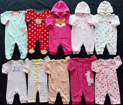 Baby Girl Size 3 Months Jumpsuits & Footed Pajama Sleepers Clothes Lot!