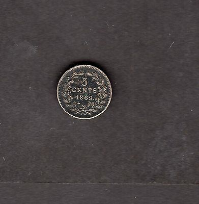 Netherlands 1869 5 Cents Silver Coin - Nice Coin!