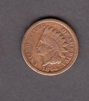 US 1864 Bronze Indian Head Penny in F Fine Cleaned Condition -Civil War Era Coin