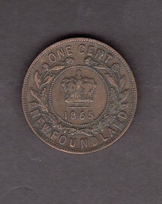 Newfoundland 1865 One Penny Coin in Fine to VF Condition - Great Coin!